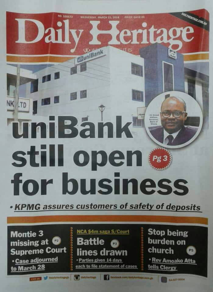 Newspapers Headline Thursday 22nd March 2018